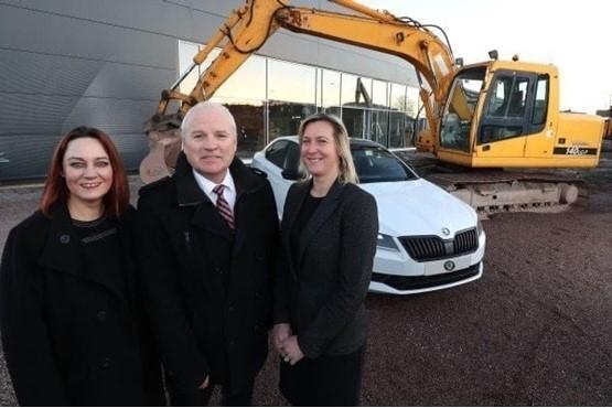 2016 Skoda development (left to right): Ellen Matthews, business banking manager at Danske Bank; Stephen Stewart, managing director at Mervyn Stewart; and Karen Bickerstaff, general manager
