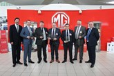 MG Motor UK head of sales and marketing, Matthew Cheyne (far right) with the brand's award-winning car dealers
