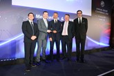 Nathaniel Cars receives its MG Motor UK Dealer of the Year Award 2019 from Wales football coach Ryan Giggs and Daniel Gregorious, MG Motor UK's head of sales and marketing (left)