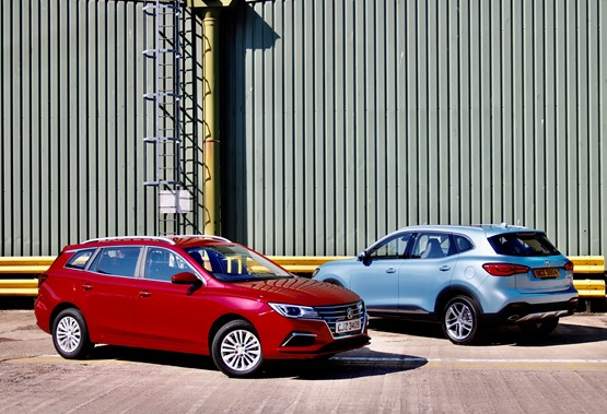 The new MG5 EV electric estate car (left) and the MG HS plug-in hybrid SUV