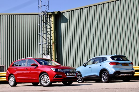 The new MG5 EV electric estate car and the MG HS plug-in hybrid SUV