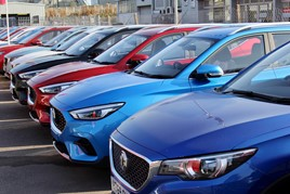 A line up of MG Motor UK car stock