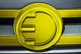 Mini three-door hatch EV badge