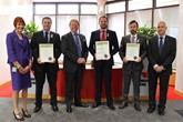 IMI awards (from left): IMI business development manager, Michelle Barrett; Neil Clapham; IMI chief executive Steve Nash; Chris Manning; Glyn Lewis; and Mitsubishi Training Academy training manager Ray Watts.