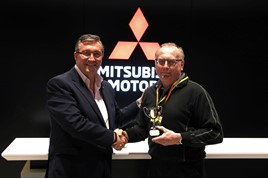 Park's Motor Group technician Alan Williamson receives his Master Technician of the Year 2019 award from Richard Weller, director of aftersales, Mitsubishi Motors in the UK
