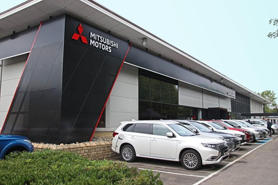 Mitsubishi's new Visual Identity showroom style includes a 'dynamic slope' accent on the exterior