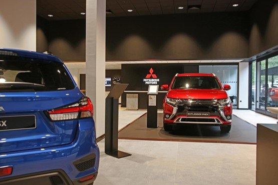 Mitsubishi's new Visual Identity car showroom style is clean and uncluttered