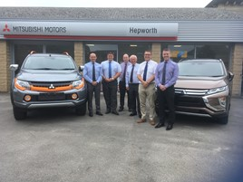 Hepworth Motor Group Mitsubish open for business (left to right): Brett Dawson,                    Mitsubishi area sales manager; Mark Brook, Hepworth Mitsubishi sales director; Neil Proctor, Hepworth Mitsubishi sales controller; Adrian Callaghan, Mitsubishi aftersales manager; Steve Brighton, Hepworth Motor Group managing director; Paul Walsh, Hepworth Mitsubishi aftersales Director