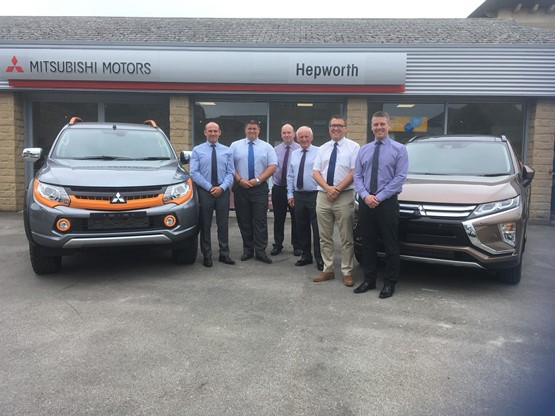 Hepworth Motor Group Mitsubish open for business in 2018 (left to right): Brett Dawson,                    Mitsubishi area sales manager; Mark Brook, Hepworth Mitsubishi sales director; Neil Proctor, Hepworth Mitsubishi sales controller; Adrian Callaghan, Mitsubishi aftersales manager; Steve Brighton, Hepworth Motor Group managing director; Paul Walsh, Hepworth Mitsubishi aftersales Director