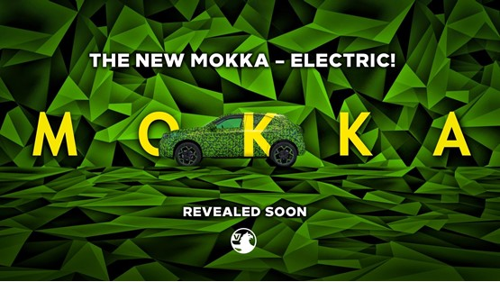 The teaser image for the forthcoming electrified Mokka crossover