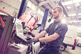 Automotive technician at work