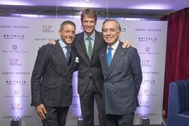Winter collaboration (left to right): Lapo Elkann, Jeep ambassador William Fox-Pitt, and His Excellency, Italian ambassador Pasquale Terracciano