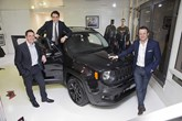 Grand opening (left to right): Steve Zanlunghi, head of Jeep Brand, EMEA and managing director, Fiat Chrysler Automobiles UK, Fabio Di Prima, head of Fiat Chrysler Motor Village UK and rugby legend Austin Healey.