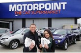 Gem 106 Breakfast Show presenters Sam and Amy at Motorpoint Derby