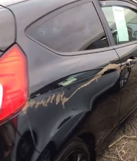 Damage caused to a Ford Fiesta in attack on Murray Motors used car dealership