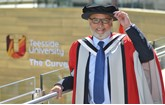 Nas Khan receives his honorary doctorate at Teesside University