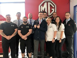 The staff at Nathaniels MG Bridgend car dealership