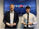 Neil Frost, group operations director at Autorola UK and apprentice Billy Lloyd