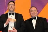 Neil Hodgson, general manager,  Perrys Worksop, collects the  award from Jimi Matthews, director of business development, Perfect Placement Automotive Recruitment, right
