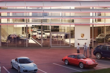 The new Porsche showroom CI makes extensive use of glazing and feature cars in windows