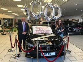 North Wales Honda in Llandudno is celebrating its 1,000th new car customer.