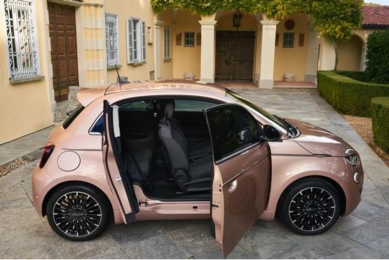 The new Fiat 500 EV's innovative rear door design
