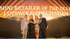 Cotswold's Cheltenham Mini dealership collect their Mini Dealer of the Year award