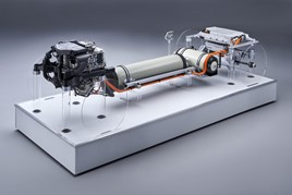 BMW's hydrogen fuel cell drivetrain, delivered through a partnership with Toyota
