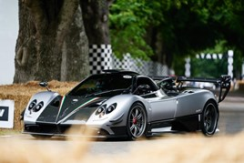 A Pagani Zonda 760 supercar in action at the Goodwood Festival of Speed