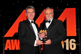 Paul Philpott, president and CEO Kia Motors UK and Ireland (left), collects the award for Used Car of the Year from Mike Cowling, head of product, Car Care Plan