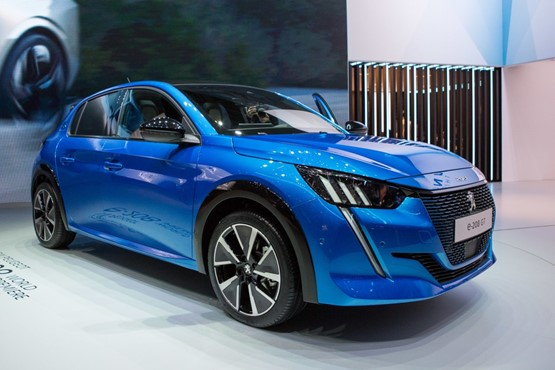 The Peugeot e-208 EV hatchback at the Geneva Motor Show 2019