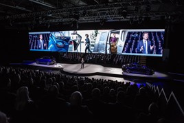 Peugeot UK managing director, David Peel, on stage at the brand's annual dealer conference in Birmingham