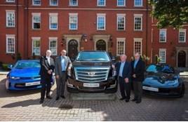 Striking PFA deal (L-R): Kevin Boyce, Cadillac European aftersales manager; George Berry, PFA commercial director; Gordon Taylor OBE, PFA chief executive; and Kevin Hurl, dealer principal, Ian Allan Motors
