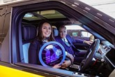 Philippa Haigh, senior sales executive at Farnell Land Rover Guiseley, with Steve Whitaker, head of business