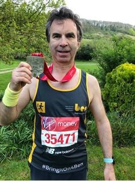 Jewelultra Group marketing director, Lance Boseley, celebrates his 2019 London Marathon fund-raising efforts