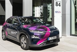 Hyundai's Kona EV at an Ionity charge point