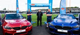 Scotland international stand-off Jaco van der Walt (left), Peter Vardy marketing director Euan Cameron and Scotland international prop WP Nel