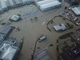 Rotherham business Rapid Skips captured aerial images of the flood which showed the impact on Perrys Vauxhall