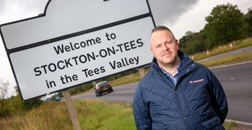 Motorpoint general manager Richard Start celebrates Motorpoint's pending arrival in Stockton-On-Tees