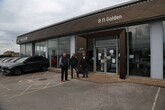 From left: Rainworth Motor Group joint MDs Jon Atherton and Simon Beckett with former RN Golden managing director Matt Golden