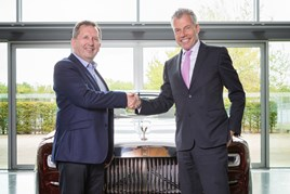 Trevor Finn, chief executive at Pendragon, with Torsten Müller-Ötvös, chief executive officer, Rolls-Royce Motor Cars