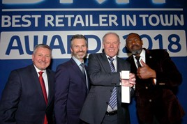 BRiT winners (from left): Mark Roden, operations director of Toyota (GB) plc; Paul Van Der Burgh, president and managing director of Toyota (GB) plc; Kevin Slack, managing director of Ron Brooks; and presenter Lenny Henry