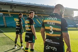 cinch branding on Northampton Saints' rugby team shirts