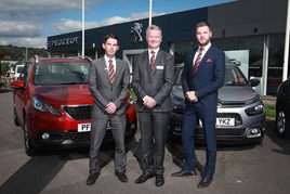 United team: Perrys' Nelson sales manager Lee Parkinson; general manager, Mark Leighton; and business manager, Joe Haley