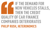 If the demand for new vehicles stalls, then the credit quality of car finance companies deteriorates Philip Rush, Heteronomics
