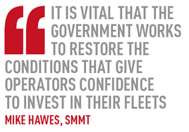 It is vital that the Government works to restore the conditions that give operators confidence  to invest in their fleets Mike Hawes, SMMT
