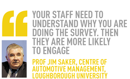 Your staff need to understand why you are doing the survey. Then they are more likely  to engage Prof jim saker, Centre of Automotive Management, Loughborough University