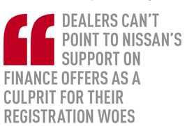 Dealers can't point to Nissan's support on finance offers as a  culprit for their registration woes