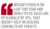 nissan's push is on leaf this year and while its ev sales are up globally by 10%, that doesn't help uk dealers looking to hit targets
