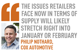 The issues retailers face now in terms of  supply will likely  stretch right into  January or February Philip Nothard,  Cox Automotive
